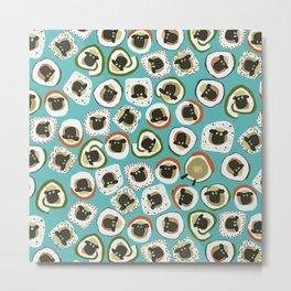 sheep sushi blue Metal Print
