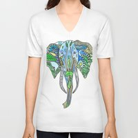 tatoo V-neck T-shirts featuring Tatoo Elephant by PepperDsArt