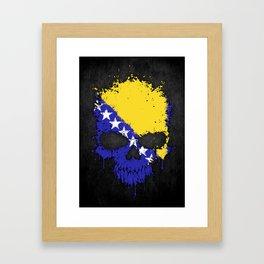 Flag of Bosnia - Herzegovina on a Chaotic Splatter Skull Framed Art Print