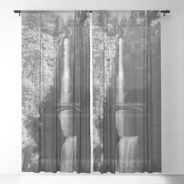 Multnomah Falls Oregon Waterfall Black and White Sheer Curtain