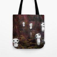 kodama Tote Bags featuring Princess Mononoke - The Kodama by pkarnold + The Cult Print Shop
