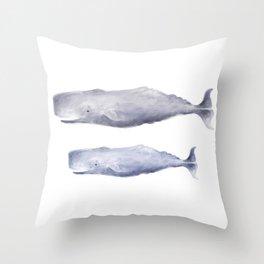 Sperm Whale Fam Throw Pillow