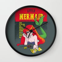 pulp Wall Clocks featuring Pulp Mermaid by Pinfloi
