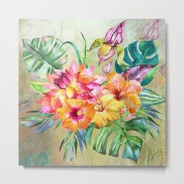 Tropical Hibiscus Garden Metal Print