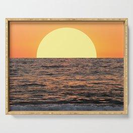 Fiery Ocean Sunset Serving Tray