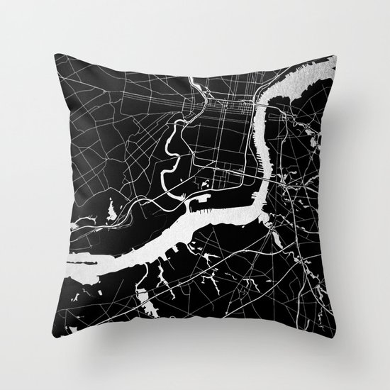 Black And Silver Decorative Pillows : Philadelphia - Black and Silver Throw Pillow by MapMaker Society6