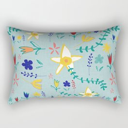 Floral The Tortoise and the Hare is one of Aesop Fables green Rectangular Pillow