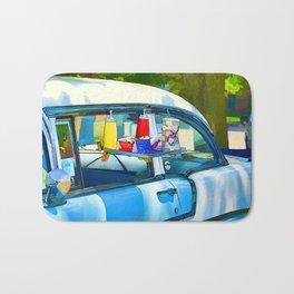 Food And Drink On Car Bath Mat
