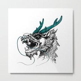 Hand Painted Dragon Metal Print