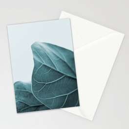 Teal Plant Leaves Stationery Cards