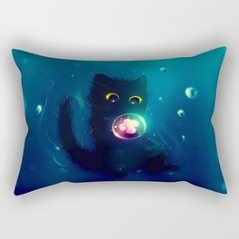 Kitten in the Water with a Bubble Rectangular Pillow