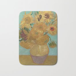 Vase with Twelve Sunflowers Bath Mat