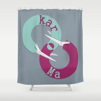 karma Shower Curtains featuring karma  by Daniac Design