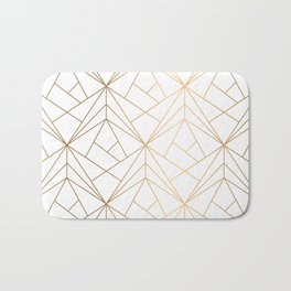 Geometric Gold Pattern With White Shimmer Bath Mat