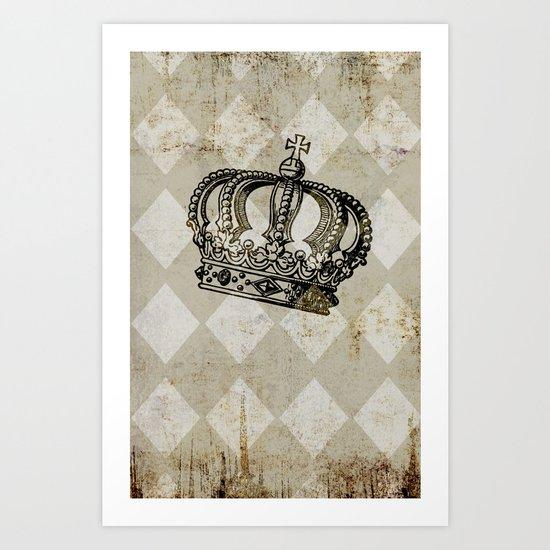 Vintage Distressed Grunge Crown Art Print
