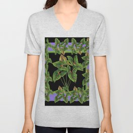 Decorative Green Tropical Botanical Foliage  Lilac-Black Art Unisex V-Neck