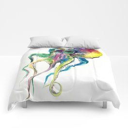 Octopus design, Tropical Colors Beach, yellow red blue green Comforters