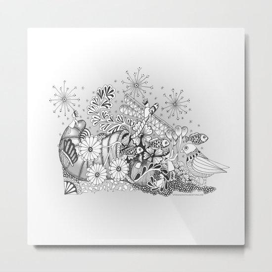 Zentangle Kids World - Black and White Illustration Metal Print