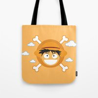 luffy Tote Bags featuring Captain Monkey D. Luffy by ARI RIZKI