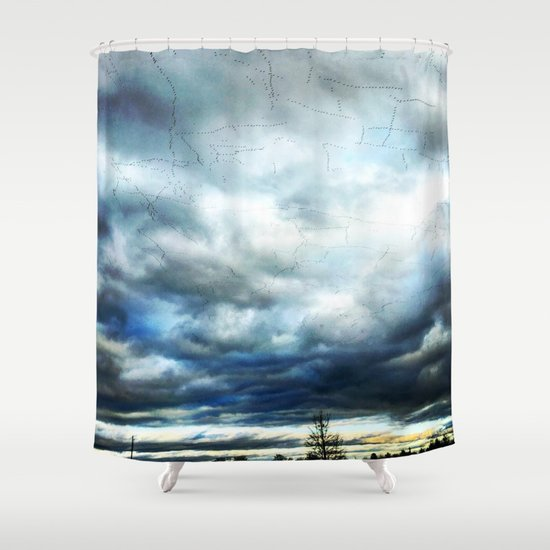 Birds, in an ominous Pennsylvania Sky, Geometric Patterns Shower Curtain