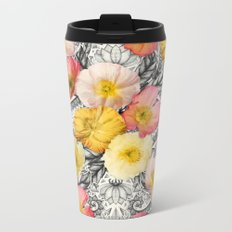 Collage of Poppies and Pattern Metal Travel Mug