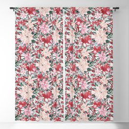 LUSH POINSETTIA Red Lush Holiday Floral Blackout Curtain