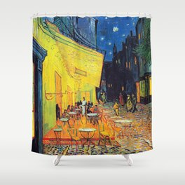Vincent Van Gogh - Café Terrace at Night (new color editing) Shower Curtain