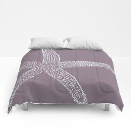 Starfish- white on plum Comforters