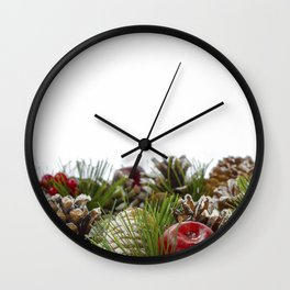 Christmas Decorative Wreath on White Background Wall Clock
