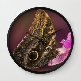 Blue Morpho butterly on pink flowers Wall Clock