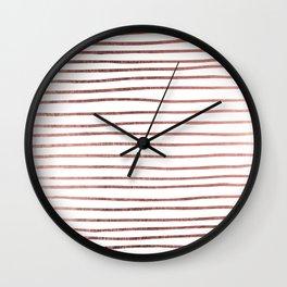 Chic elegant faux rose gold striped pattern Wall Clock