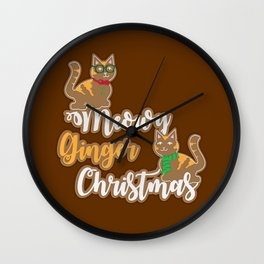 Meowy Ginger Christmas Wall Clock