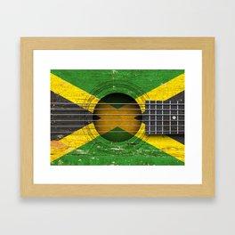 Old Vintage Acoustic Guitar with Jamaican Flag Framed Art Print