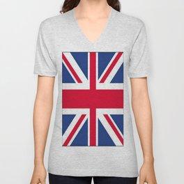 Union Jack 🇬🇧 Flag Of The United Kingdom ♚ Unisex V-Neck