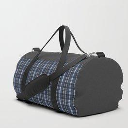 Blue grey plaid pattern Duffle Bag