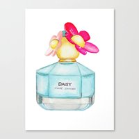 marc jacobs Canvas Prints featuring Daisy by Marc Jacobs Perfume Fashion Illustration by Spontaneous Paintbrush