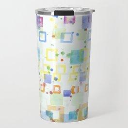 Light Squares with Drops Pattern Travel Mug