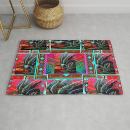 RED WESTERN DESERT AGAVE CACTUS PAINTING PATTERN ART Rug