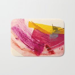 Pink Lemonade: a minimal, colorful abstract mixed media with bold strokes of pinks, and yellow Bath Mat