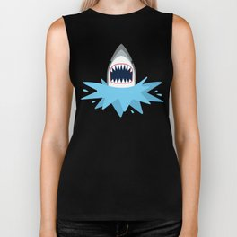 Cartoon Shark Splash Biker Tank