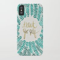 green iPhone & iPod Cases featuring Treat Yo Self – Gold & Turquoise by Cat Coquillette