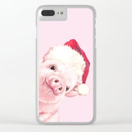 Sneaky Santa Baby Pig Clear iPhone Case