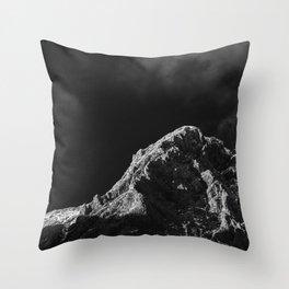 Black and white sun illuminated mountain Throw Pillow