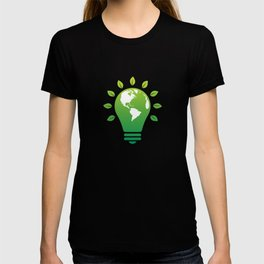 Green bulb, electricity - climate change T-shirt