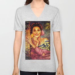 Jesus Helguera Painting of a Mexican Girl Beside Rattan Curtain Unisex V-Neck