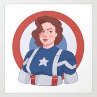 peggy carter Art Prints featuring Captain Peggy Carter by Charlotte Foley