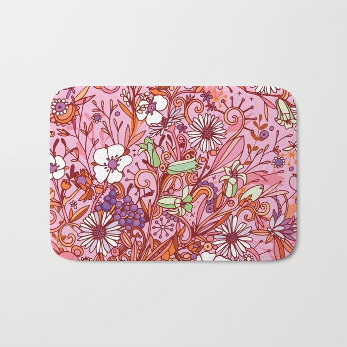 Daisy and Bellflower pattern, pink Bath Mat