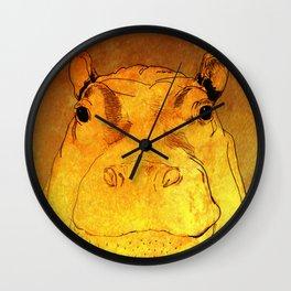 Golden Hippo Wall Clock