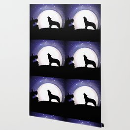 Wolf Howling to the Moon Wallpaper