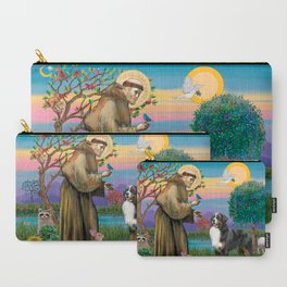 Saint Francis Blesses a Bernes Mountain Dog Carry-All Pouch
